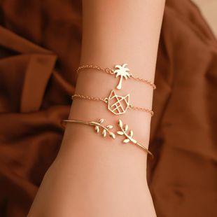 Fashion Cat Coco Leaf Alloy Bracelet 3 pics set NHDP145311's discount tags