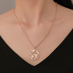 Fashion simple alloy world map necklace NHDP145321's discount tags