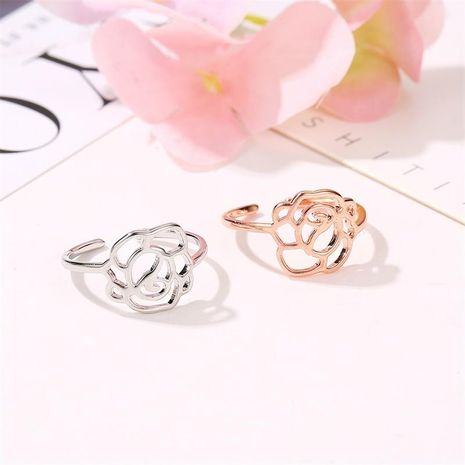 Sleek minimalist rose openwork ring rose alloy NHDP145326's discount tags
