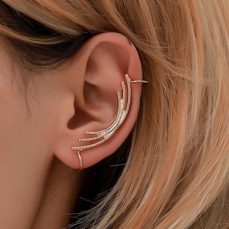 Simple ear cuff metal curved clip earrings NHDP145338
