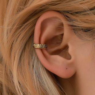 Simple metal pattern ear cuff copper clip earrings NHDP145340's discount tags