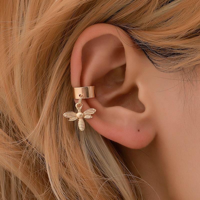 Simple U-shaped bee ear cuff clip earrings NHDP145342
