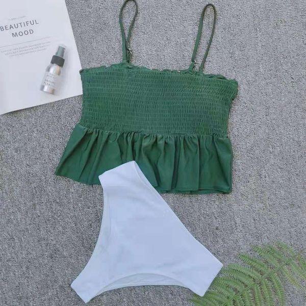 Stylish solid color sling pleated bikini NHNM145375