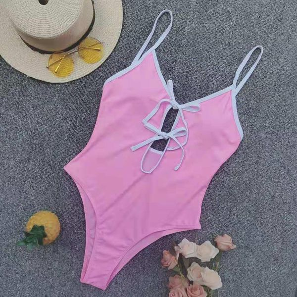 Fashion solid color sexy one-piece swimsuit NHNM145422