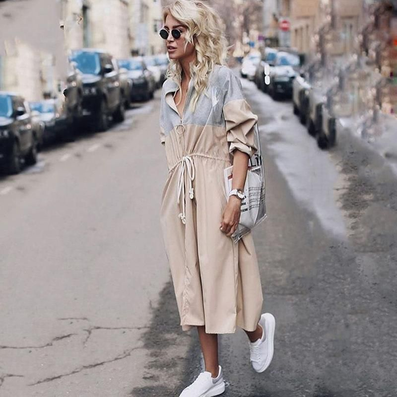 Fashion autumn and winter long coat trench coat NHDF145447