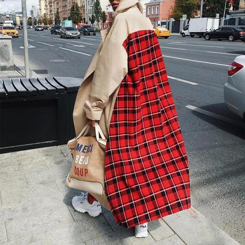 Europe and America large size loose khaki red plaid long trench coat NHDF145449