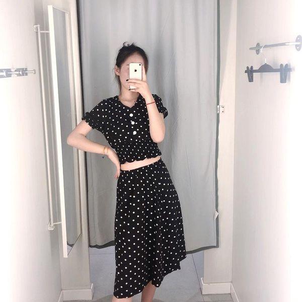 V-neck wave dress dress shirt top skirt two-piece suit NHAM145475