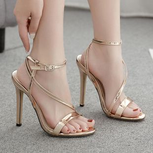 Sexy champagne stiletto sandals NHSO145528's discount tags