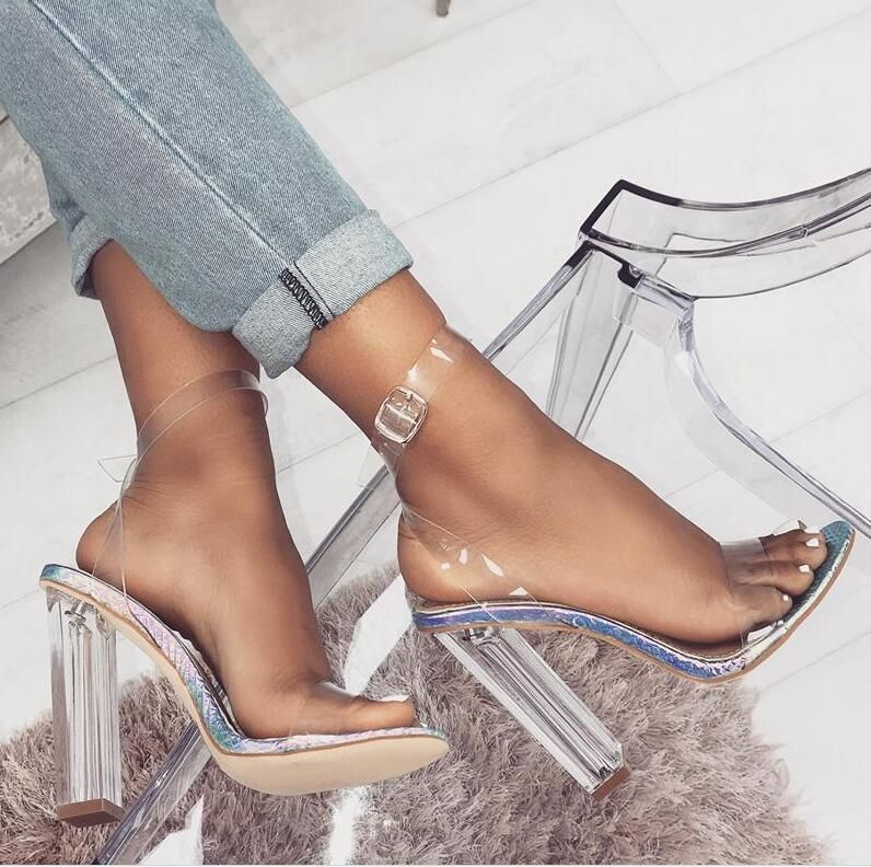 European and American imitated crystal high heel transparent word with sandals NHSO145543