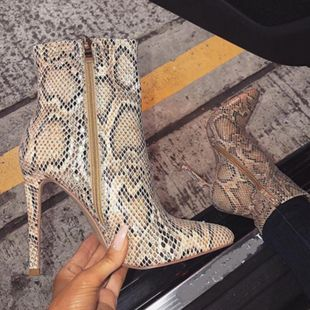 European and American pointed big size fine high heel snake pattern NHSO145548's discount tags