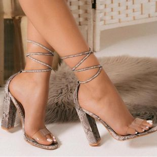 Fashion snake cross banded high heel sandals NHSO145551's discount tags