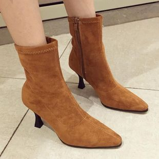 Fashion pointed high heel suede ankle boots NHSO145565's discount tags