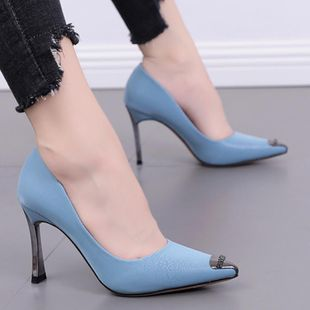 Stylish and simple thick with high heel shoes NHSO145588's discount tags