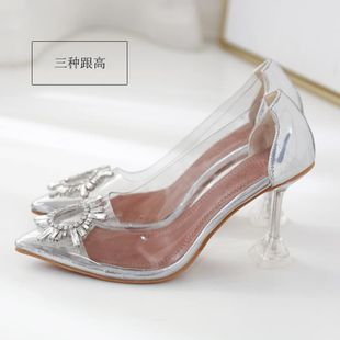 Sexy rhinestone stiletto heel transparent shoes NHSO145596's discount tags