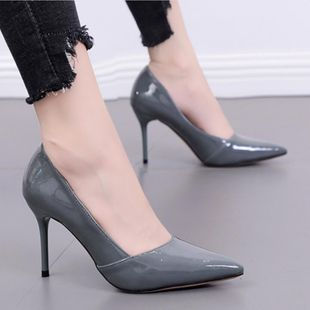 Fashion pointed shallow mouth high heel patent leather shoes NHSO145598's discount tags