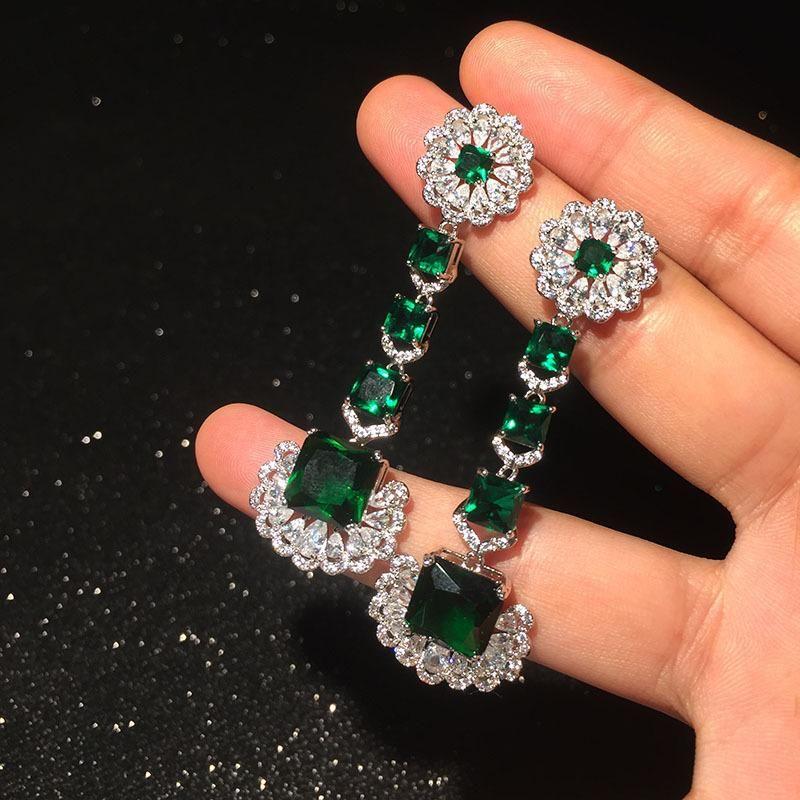 New emerald lace earrings NHWK145605
