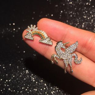 Fashion asymmetric micro-set zircon rainbow unicorn stud earrings NHWK145607's discount tags