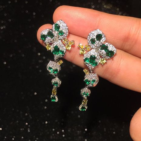 Colorful emerald butterfly earrings NHWK145615's discount tags