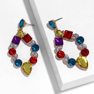 Fashion alloy imitated crystal hollow geometric earrings NHAS145616's discount tags