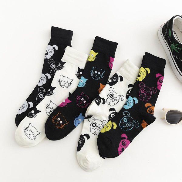 Cartoon black and white cat dog animal cotton socks NHZG145631