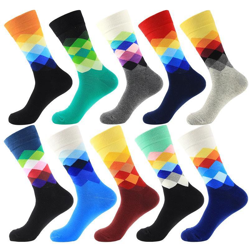 New rhombic retro hit color cotton socks NHZG145637