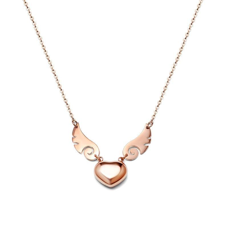Fashion Rose Alloy Angel Wings Heart Necklace NHOK145689