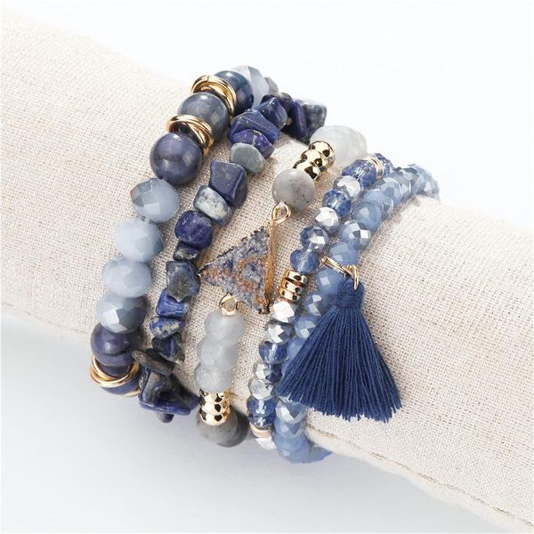 Natural edging stone imitated crystal beads gravel multi-layer bracelet NHLU145690