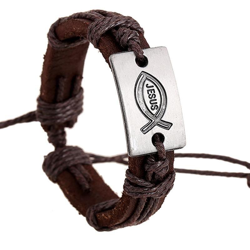 Fashion Jesus Fish Vintage Leather Alloy Bracelet NHPK145702