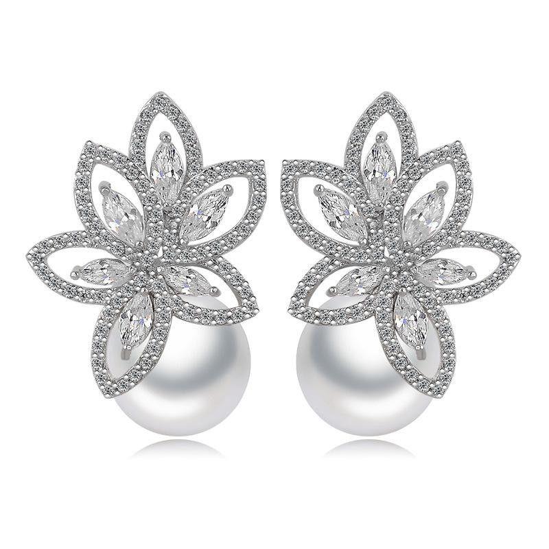Korean fashion AAA zircon beaded beads earrings NHTM145715
