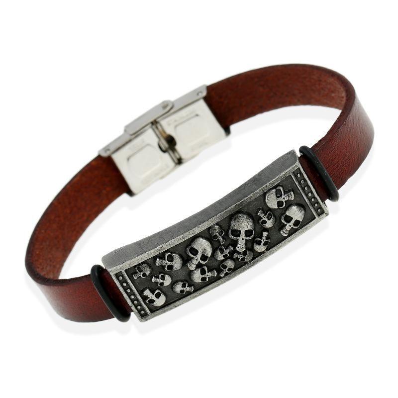 Vintage leather skull leather bracelet NHPK145730