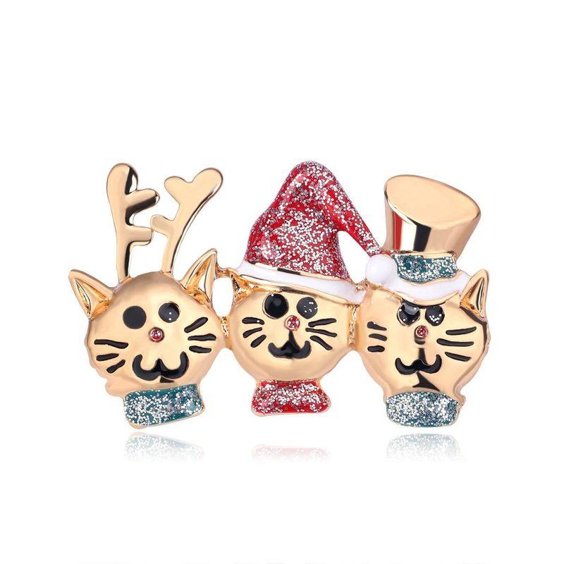 European and American fashion cartoon wild Christmas cat brooch NHDR145741