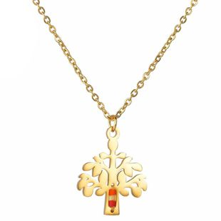 Womens Tree Electroplated Stainless Steel Necklaces NHHF145746's discount tags