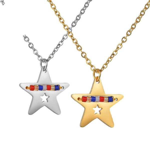 Creative color rice beads five-pointed star hollow necklace NHHF145752