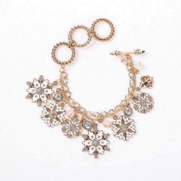 Snowflake drop glaze multi pendant Christmas bracelet NHHN145763