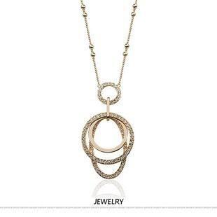Fashion full rhinestone ring set long necklace NHLJ145779