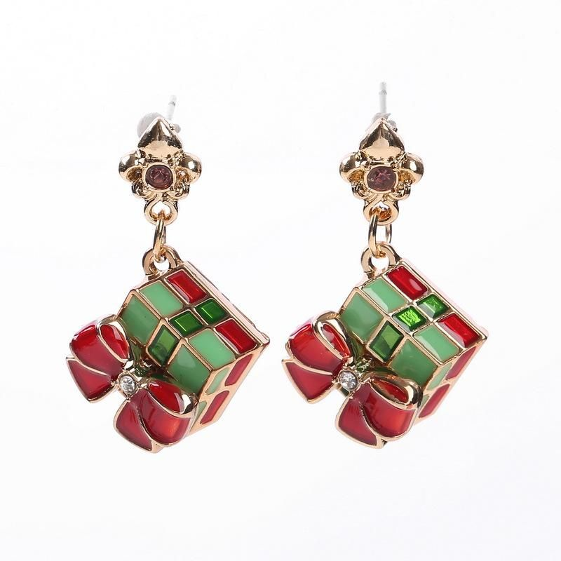 Creative Christmas gift box earrings NHHN145784