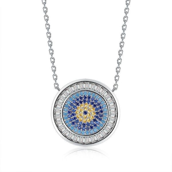Sleek minimalist round color zircon necklace NHLJ145792