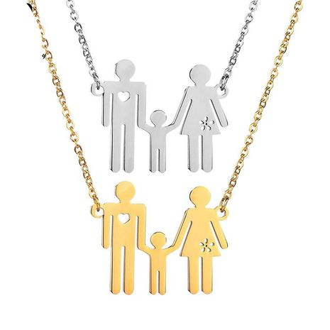 Womens Doll Plated Stainless Steel Necklaces NHHF145793's discount tags