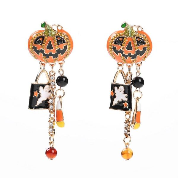 Creative pumpkin drop oil funny earrings NHHN145795