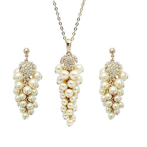 Womens Rhinestone Alloy Red Apple Jewelry Sets NHLJ145796