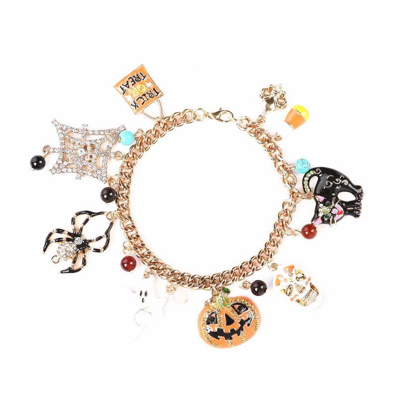 Fashion Pumpkin Drop Glaze Spider Multi Bracelet NHHN145798