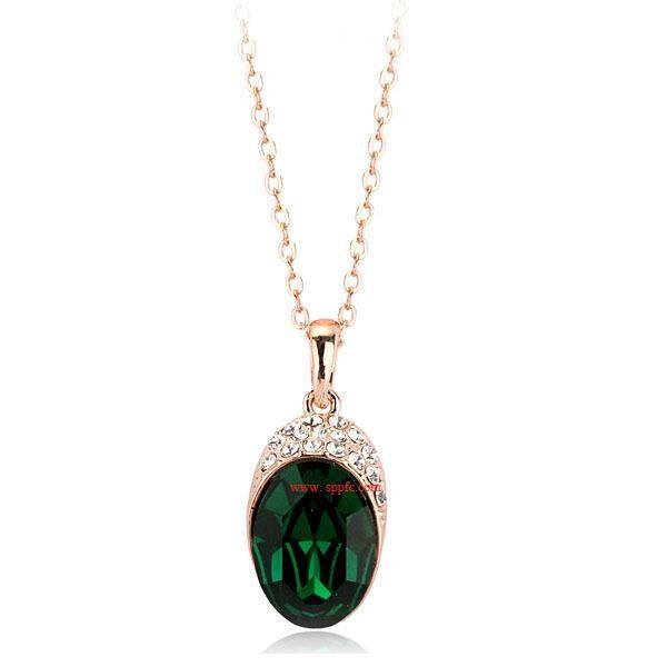 Simple rhinestone-studded imitated crystal alloy necklace NHLJ145801