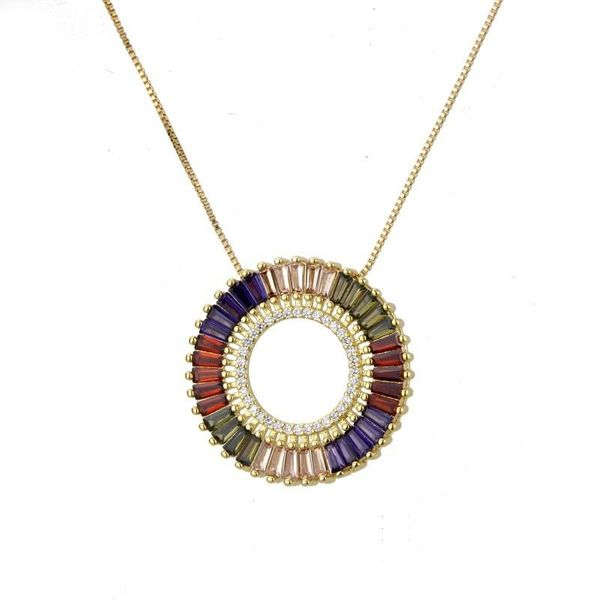 Round hollow colored zircon necklace NHBP145835