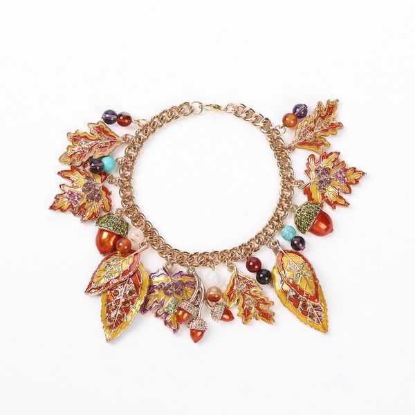 Fashion Maple Leaf Drops with Rhinestone Alloy Leaf Bracelet NHHN145836