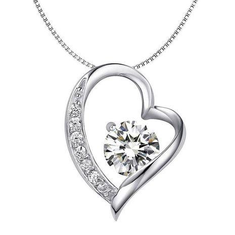 Version coréenne du collier simple coeur classique et huit flèches zircon NHLJ145837's discount tags