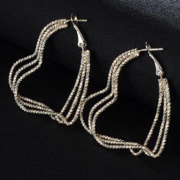 Fashion big circle multi-layer peach heart earrings NHIM145852