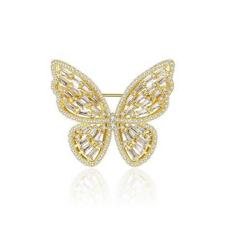Womens Butterfly Copper Inlay Zircon Brooches NHTM145885's discount tags