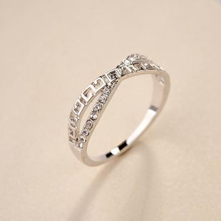 Stylish minimalist rhinestone cross ring NHLJ145891's discount tags