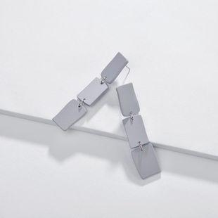 Geometric square color spray paint female earrings NHLU145892's discount tags