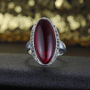 Fashion Rhinestone Natural Half Treasure Vintage Ring NHLJ145898's discount tags